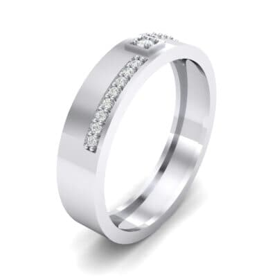 Pave Level Crystal Ring (0.1 CTW) Perspective View