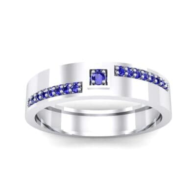 Pave Level Blue Sapphire Ring (0.1 CTW) Top Dynamic View