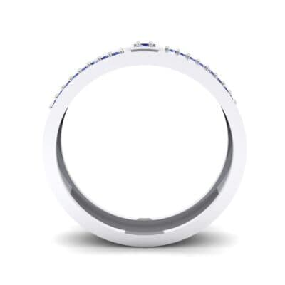 Pave Level Blue Sapphire Ring (0.1 CTW) Side View