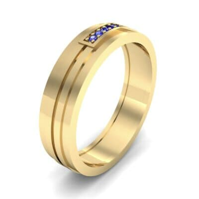 Five-Stone Pipeline Blue Sapphire Ring (0.04 CTW) Perspective View