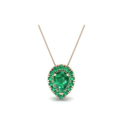 Pear-Shaped Halo Emerald Pendant (0.88 CTW) Perspective View