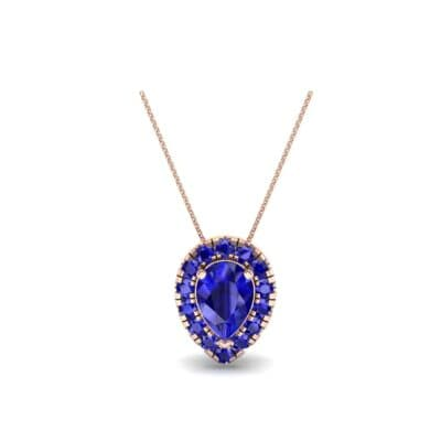 Pear-Shaped Halo Blue Sapphire Pendant (0.88 CTW) Perspective View
