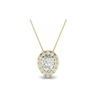 Pear-Shaped Halo Diamond Pendant (0.88 CTW) Perspective View