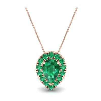 Pear-Shaped Halo Emerald Pendant (0.88 CTW) Top Dynamic View