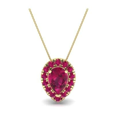 Pear-Shaped Halo Ruby Pendant (0.88 CTW) Top Dynamic View