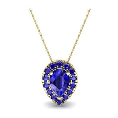Pear-Shaped Halo Blue Sapphire Pendant (0.88 CTW) Top Dynamic View
