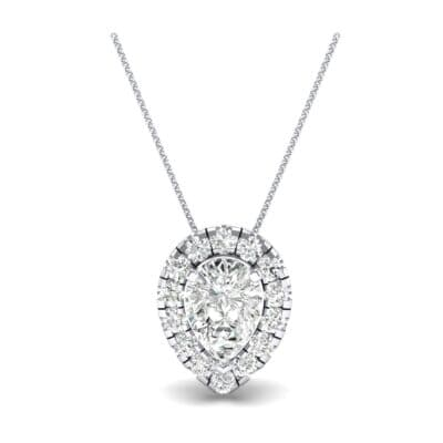 Pear-Shaped Halo Diamond Pendant (0.88 CTW) Top Dynamic View