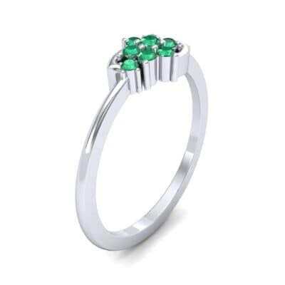 Tapered Cluster Emerald Engagement Ring (0.12 CTW) Perspective View