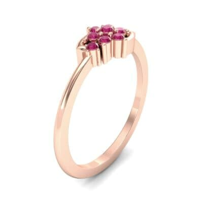 Tapered Cluster Ruby Engagement Ring (0.12 CTW) Perspective View