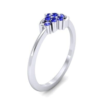 Tapered Cluster Blue Sapphire Engagement Ring (0.12 CTW) Perspective View