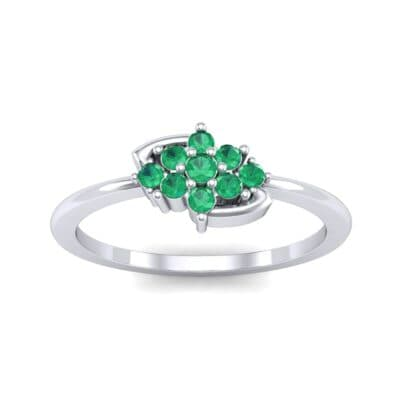 Tapered Cluster Emerald Engagement Ring (0.12 CTW) Top Dynamic View