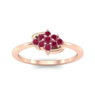 Tapered Cluster Ruby Engagement Ring (0.12 CTW) Top Dynamic View
