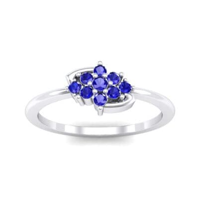 Tapered Cluster Blue Sapphire Engagement Ring (0.12 CTW) Top Dynamic View