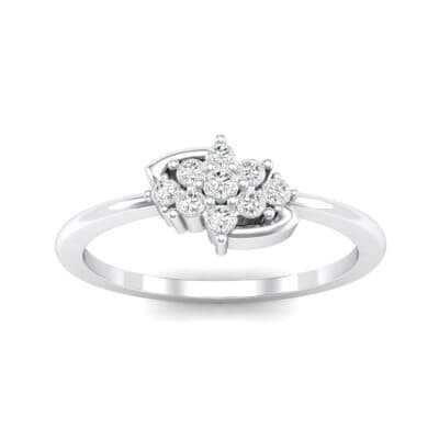 Tapered Cluster Crystal Engagement Ring (0.12 CTW) Top Dynamic View