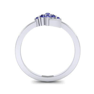 Tapered Cluster Blue Sapphire Engagement Ring (0.12 CTW) Side View