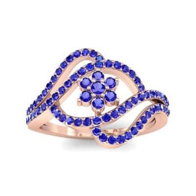 Eye of Horus Blue Sapphire Ring (0.44 CTW) Top Dynamic View