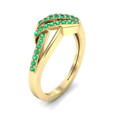Pave Flight Emerald Ring (0.22 CTW) Perspective View