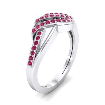 Pave Flight Ruby Ring (0.22 CTW) Perspective View