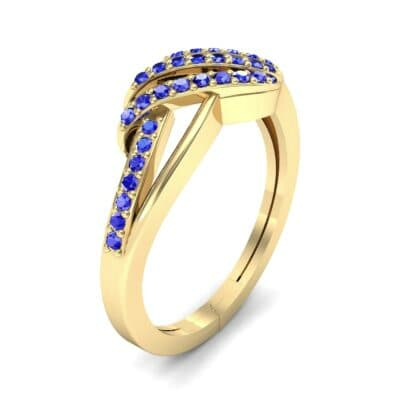 Pave Flight Blue Sapphire Ring (0.22 CTW) Perspective View