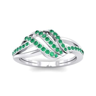 Pave Flight Emerald Ring (0.22 CTW) Top Dynamic View