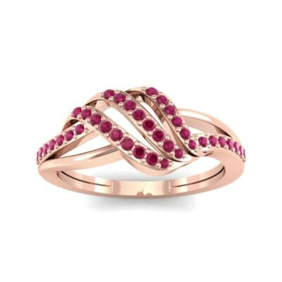 Pave Flight Ruby Ring (0.22 CTW) Top Dynamic View