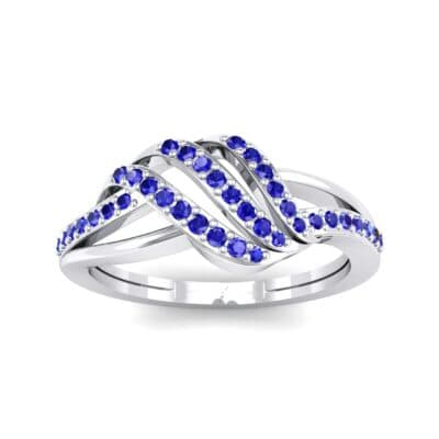 Pave Flight Blue Sapphire Ring (0.22 CTW) Top Dynamic View