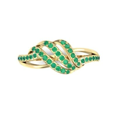 Pave Flight Emerald Ring (0.22 CTW) Top Flat View