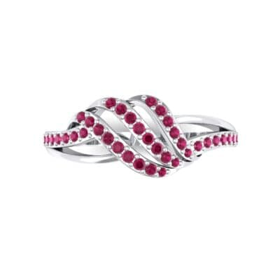 Pave Flight Ruby Ring (0.22 CTW) Top Flat View
