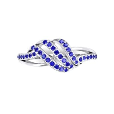 Pave Flight Blue Sapphire Ring (0.22 CTW) Top Flat View