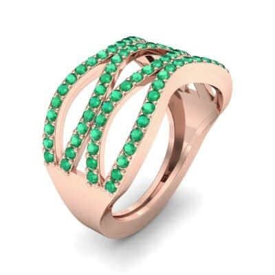 Flux Pave Emerald Ring (0.56 CTW) Perspective View