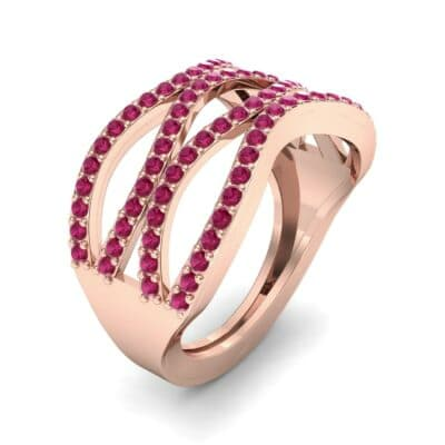 Flux Pave Ruby Ring (0.56 CTW) Perspective View