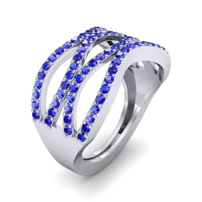 Flux Pave Blue Sapphire Ring (0.56 CTW) Perspective View