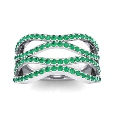Flux Pave Emerald Ring (0.56 CTW) Top Dynamic View