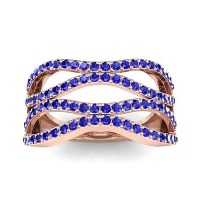Flux Pave Blue Sapphire Ring (0.56 CTW) Top Dynamic View