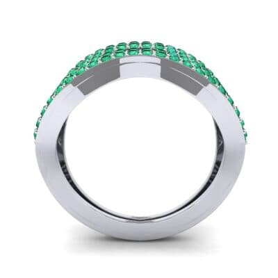 Flux Pave Emerald Ring (0.56 CTW) Side View