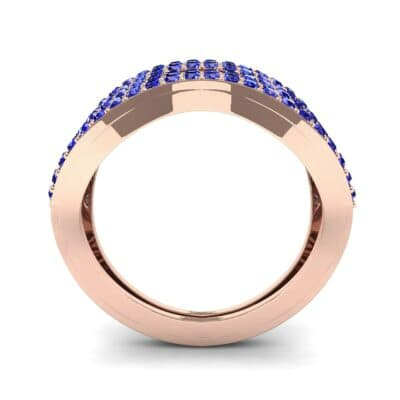 Flux Pave Blue Sapphire Ring (0.56 CTW) Side View