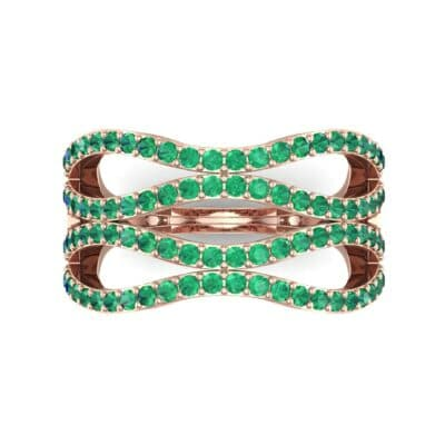 Flux Pave Emerald Ring (0.56 CTW) Top Flat View
