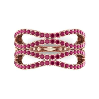Flux Pave Ruby Ring (0.56 CTW) Top Flat View