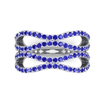 Flux Pave Blue Sapphire Ring (0.56 CTW) Top Flat View