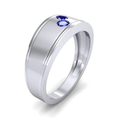 Two-Stone Blue Sapphire Ring (0.22 CTW) Perspective View
