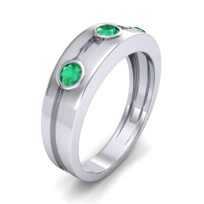 Three-Stone Channel Emerald Ring (0.33 CTW) Perspective View