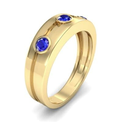 Three-Stone Channel Blue Sapphire Ring (0.33 CTW) Perspective View