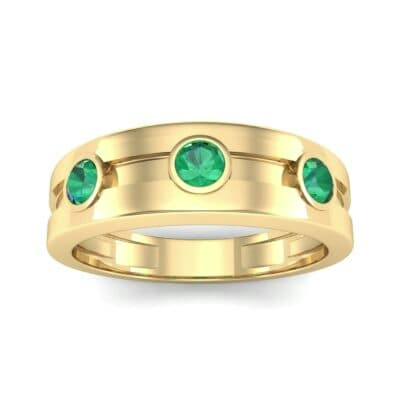 Three-Stone Channel Emerald Ring (0.33 CTW) Top Dynamic View