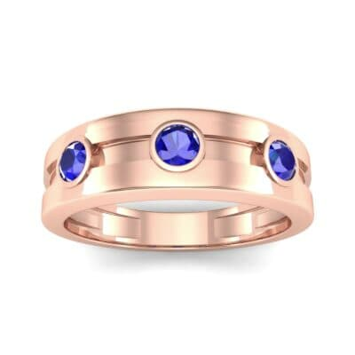 Three-Stone Channel Blue Sapphire Ring (0.33 CTW) Top Dynamic View