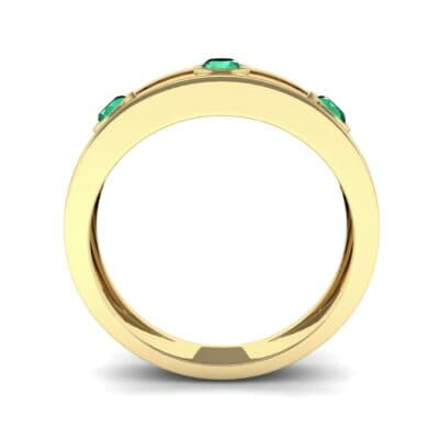 Three-Stone Channel Emerald Ring (0.33 CTW) Side View