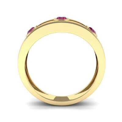 Three-Stone Channel Ruby Ring (0.33 CTW) Side View