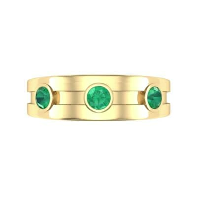 Three-Stone Channel Emerald Ring (0.33 CTW) Top Flat View