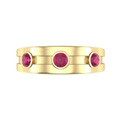 Three-Stone Channel Ruby Ring (0.33 CTW) Top Flat View