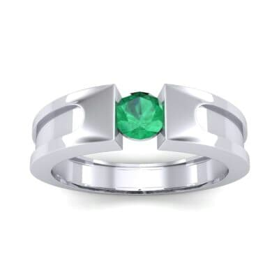 Force Solitaire Emerald Engagement Ring (0.36 CTW) Top Dynamic View