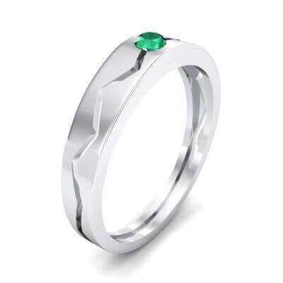 Vista Solitaire Emerald Ring (0.1 CTW) Perspective View